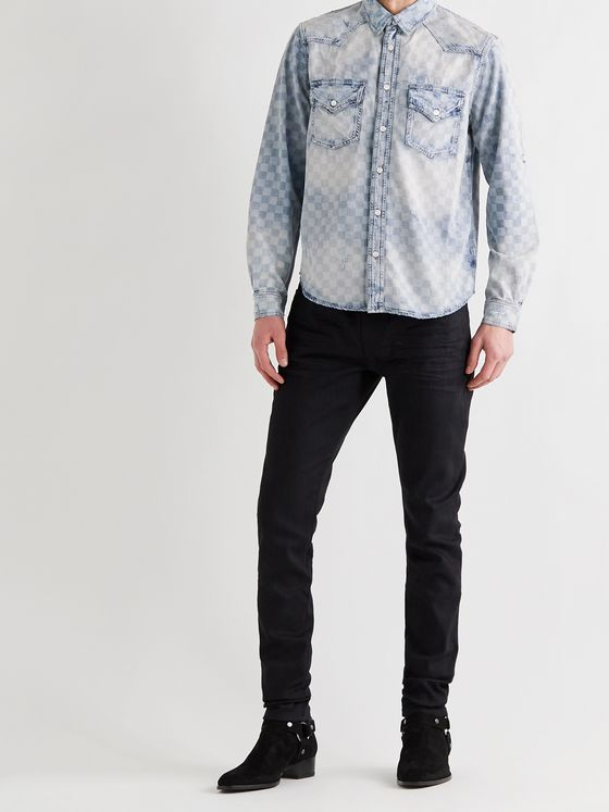 AMIRI Distressed Checked Denim Shirt