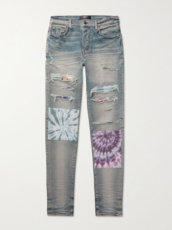 AMIRI Slim-Fit Patchwork Distressed Stretch-Denim Jeans