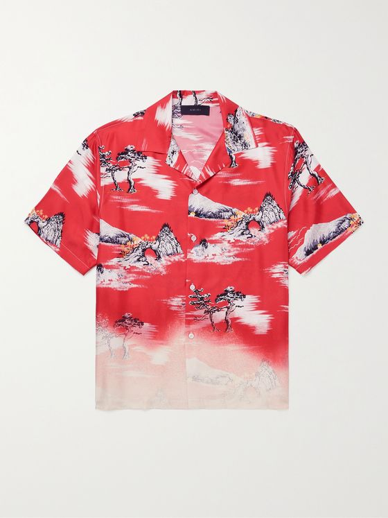 AMIRI Camp-Collar Printed Silk-Twill Shirt