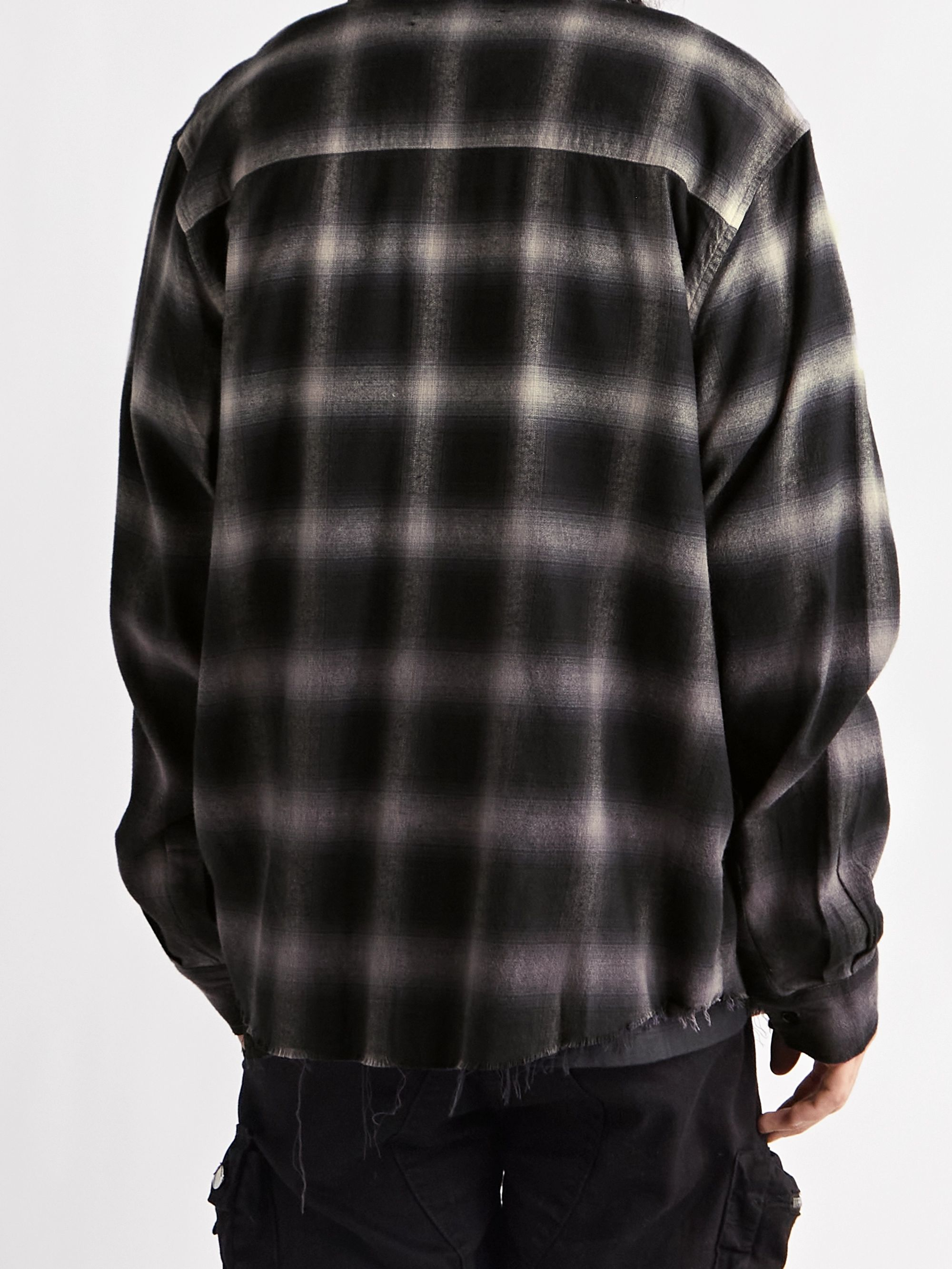 AMIRI Dégradé Checked Cotton-Blend Flannel Shirt