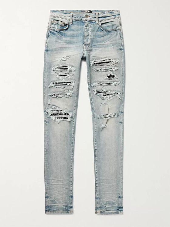 AMIRI Thrasher Skinny-Fit Distressed Panelled Stretch-Denim Jeans