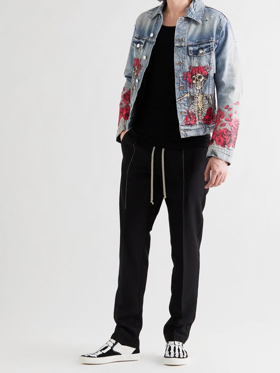AMIRI + Grateful Dead Slim-Fit Distressed Printed Denim Trucker Jacket