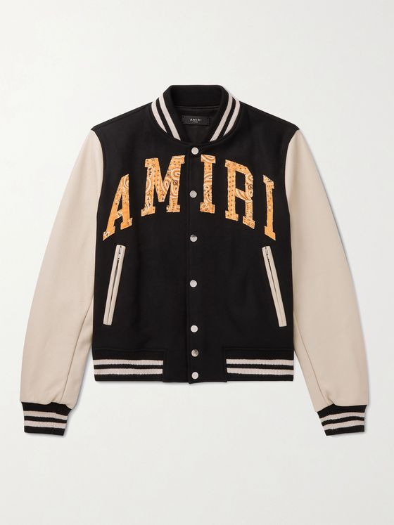 AMIRI Logo-Appliquéd Wool-Blend and Leather Bomber Jacket