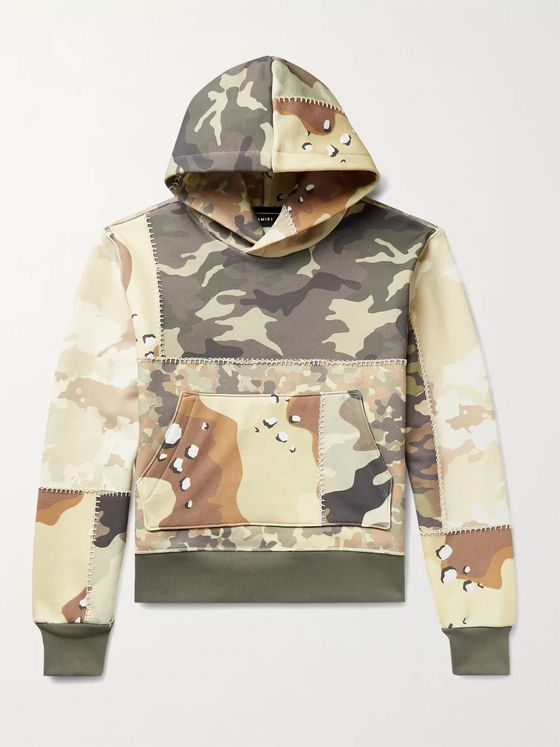 AMIRI Patchwork Camouflage-Print Loopback Cotton-Jersey Hoodie