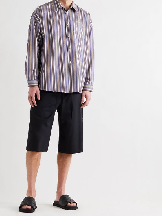 MARNI Logo-Embroidered Striped Cotton-Poplin Shirt