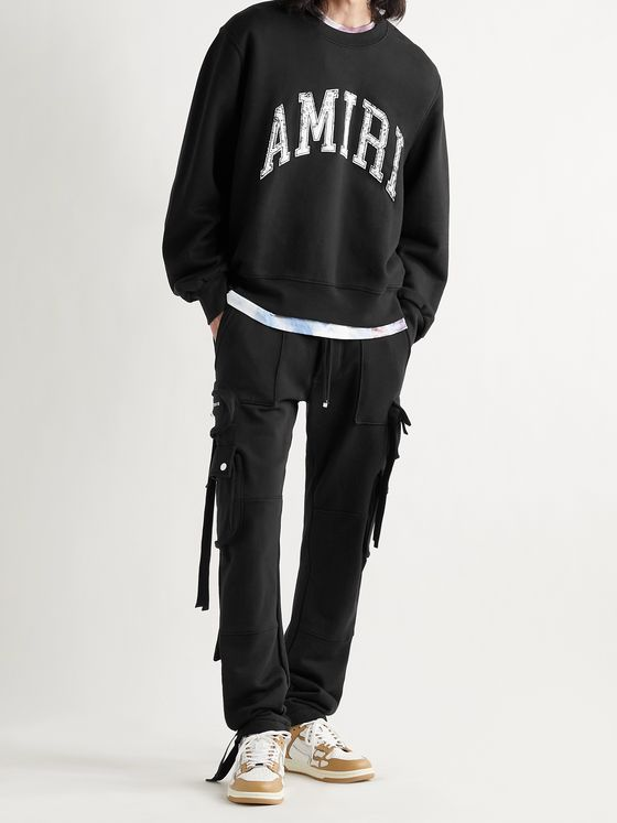 AMIRI Slim-Fit Tapered Loopback Cotton-Jersey Cargo Sweatpants