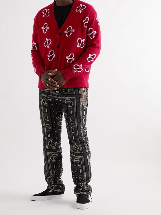 AMIRI Paisley-Intarsia Cashmere and Wool-Blend Cardigan