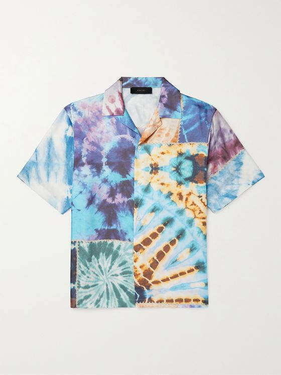 AMIRI Camp-Collar Patchwork Tie-Dyed Silk Shirt