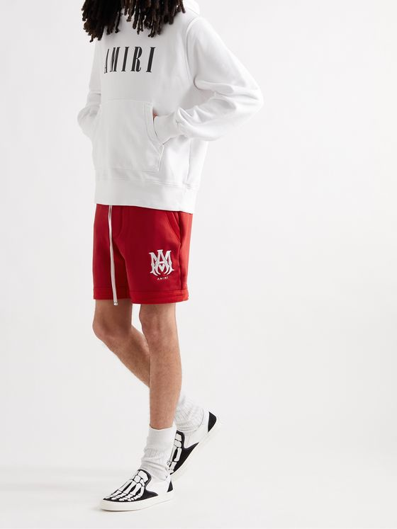 AMIRI Logo-Embroidered Loopback Cotton-Jersey Drawstring Shorts