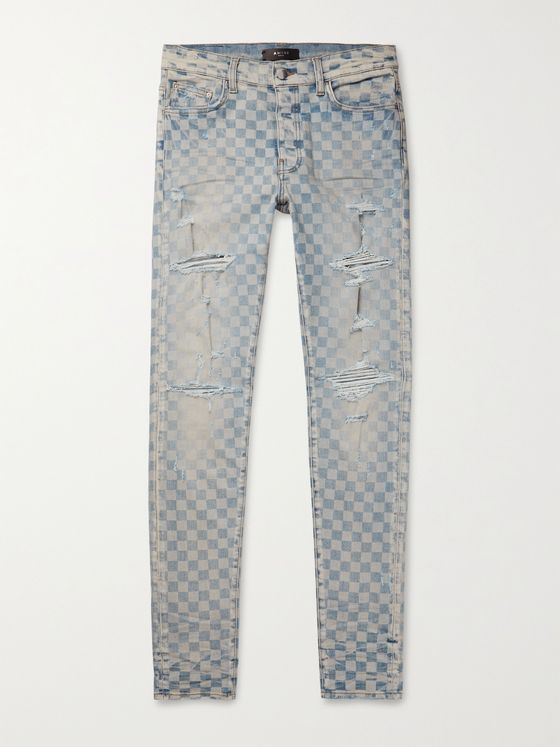 AMIRI Thrasher Skinny-Fit Distressed Checked Denim Jeans