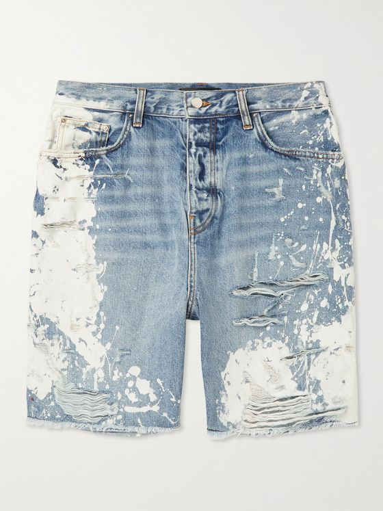 AMIRI Distressed Bleached Denim Shorts