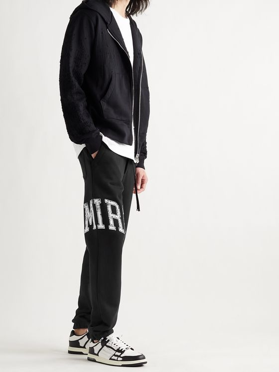 AMIRI Slim-Fit Tapered Logo-Appliquéd Loopback Cotton-Jersey Sweatpants