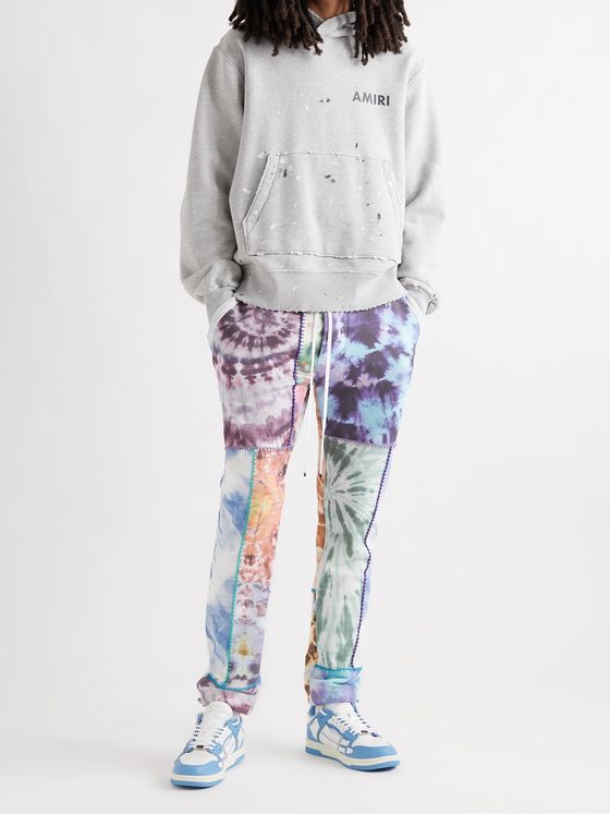 AMIRI Tapered Patchwork Tie-Dyed Loopback Cotton-Jersey Sweatpants