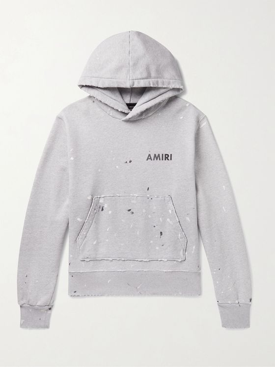 AMIRI Paint-Splattered Logo-Print Mélange Fleece-Back Cotton-Jersey Hoodie