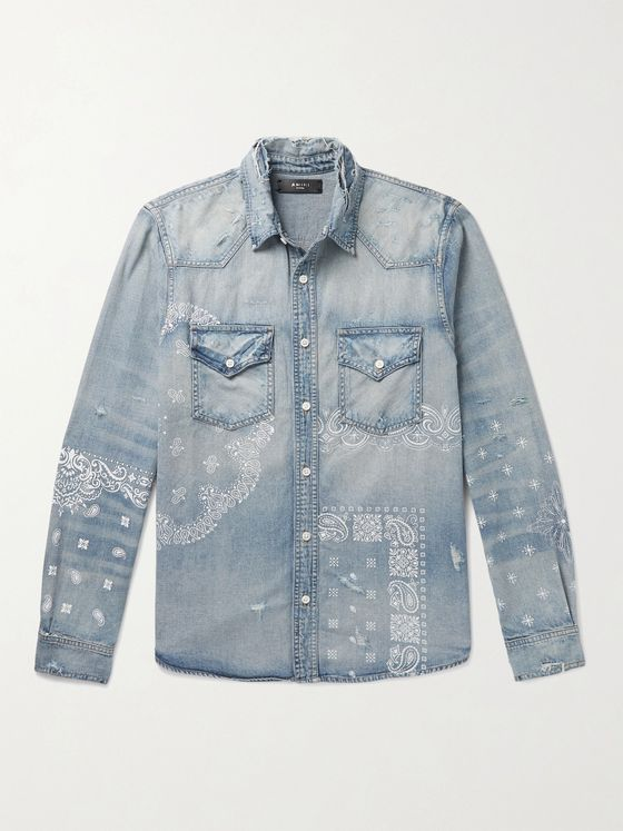 AMIRI Screen-Printed Denim Shirt