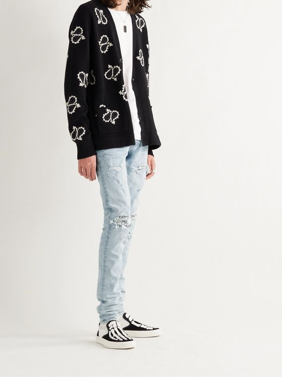 AMIRI MX1 Skinny-Fit Bandana-Print Leather-Panelled Stretch-Denim Jeans