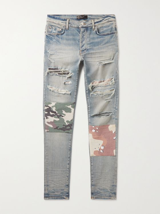 AMIRI Skinny-Fit Patchwork Distressed Stretch-Denim Jeans