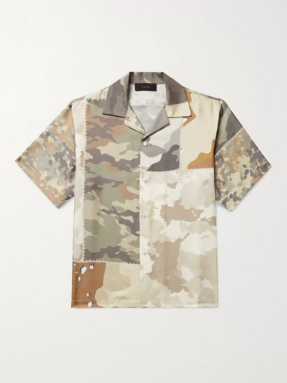 AMIRI Camp-Collar Camouflage-Print Silk-Twill Shirt