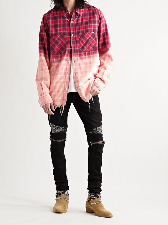AMIRI Distressed Dégradé Bleached Checked Cotton-Flannel Shirt