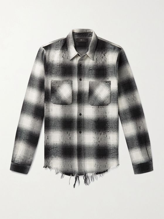 AMIRI Distressed Checked Cotton and Virgin Wool-Blend Flannel Shirt
