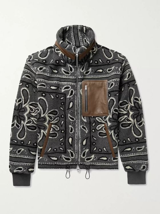 AMIRI Leather-Trimmed Bandana-Print Fleece Jacket