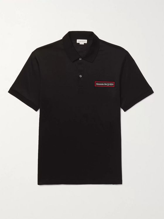 ALEXANDER MCQUEEN Logo-Appliquéd Mercerised Cotton-Jersey Polo Shirt