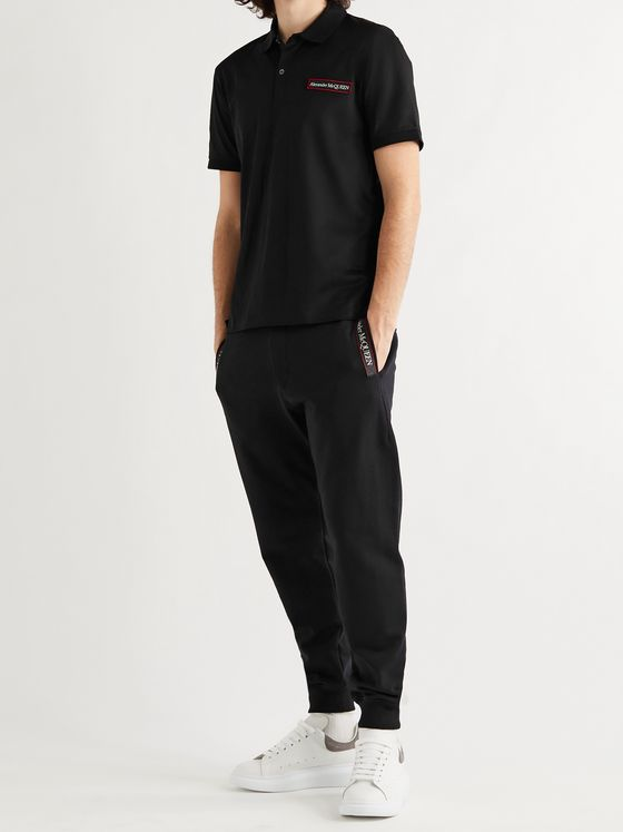 ALEXANDER MCQUEEN Tapered Logo-Print Webbing-Trimmed Loopback Cotton-Jersey Sweatpants