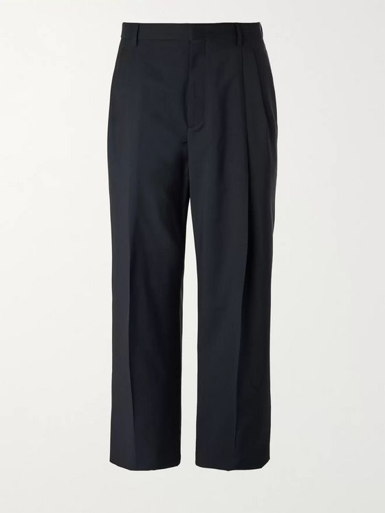 VALENTINO Wide-Leg Logo-Embroidered Wool and Mohair-Blend Trousers