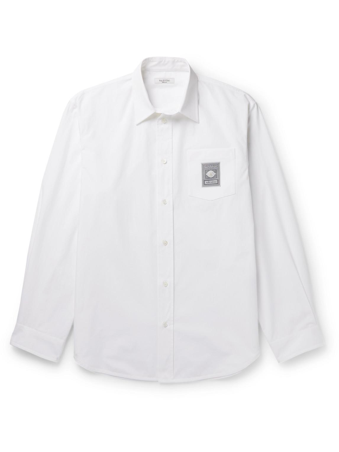 valentino - logo-appliquéd cotton-poplin shirt - men - white - eu 41