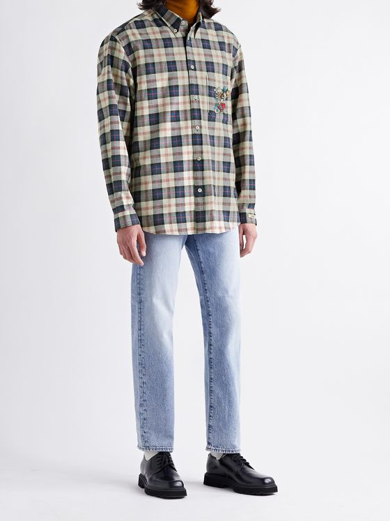 GUCCI + Disney Button-Down Collar Appliquéd Checked Cotton and Linen-Blend Twill Shirt