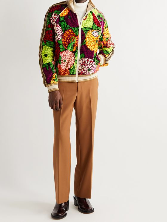 GUCCI Striped Webbing-Trimmed Printed Cotton-Velour Track Jacket