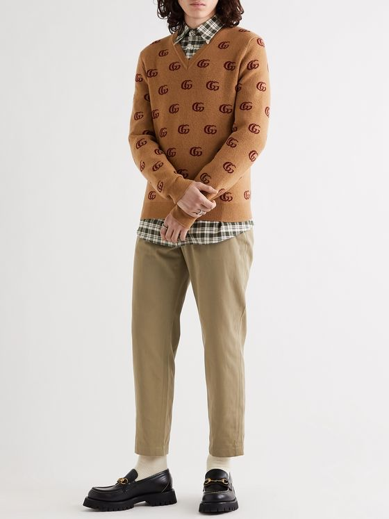GUCCI Tapered Logo-Appliquéd Pleated Cotton-Gabardine Trousers