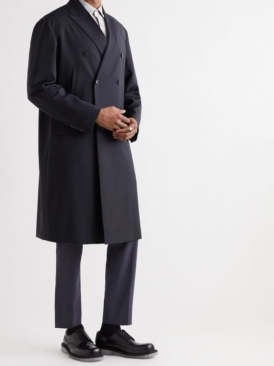 VALENTINO Double-Breasted Wool and Mohair-blend Coat