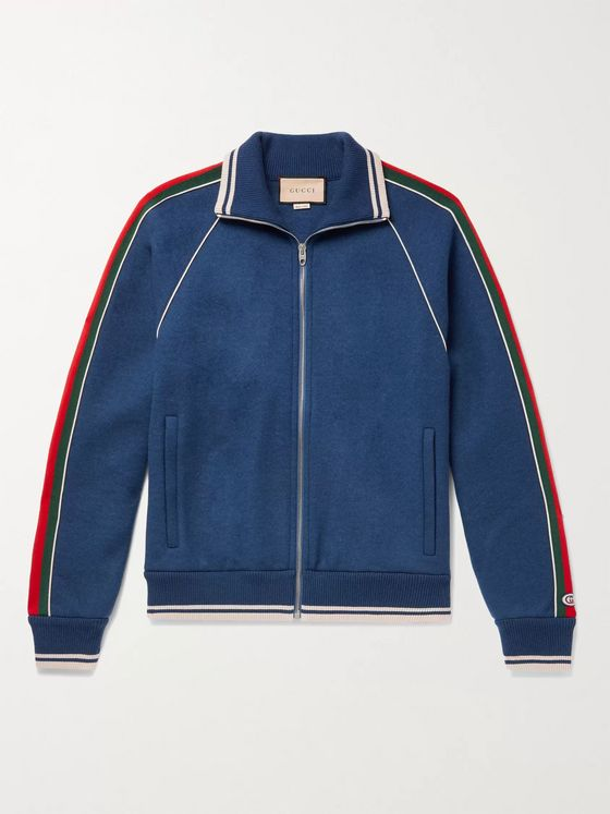 GUCCI Logo-Appliquéd Striped Cashmere-Blend Track Jacket