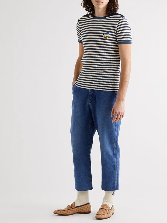 GUCCI + Disney Appliquéd Striped Perforated Cotton T-Shirt