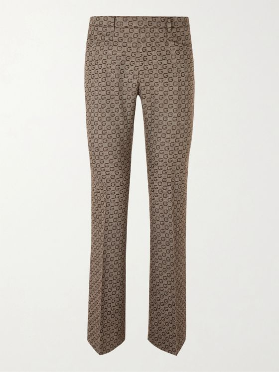 GUCCI Slim-Fit Bootcut Logo-Jacquard Wool Suit Trousers