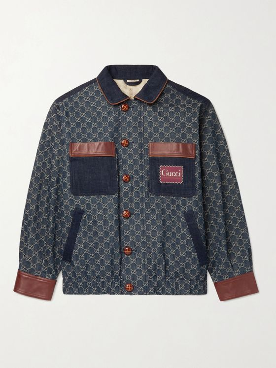 GUCCI Leather-Trimmed Logo-Jacquard Organic Denim Jacket