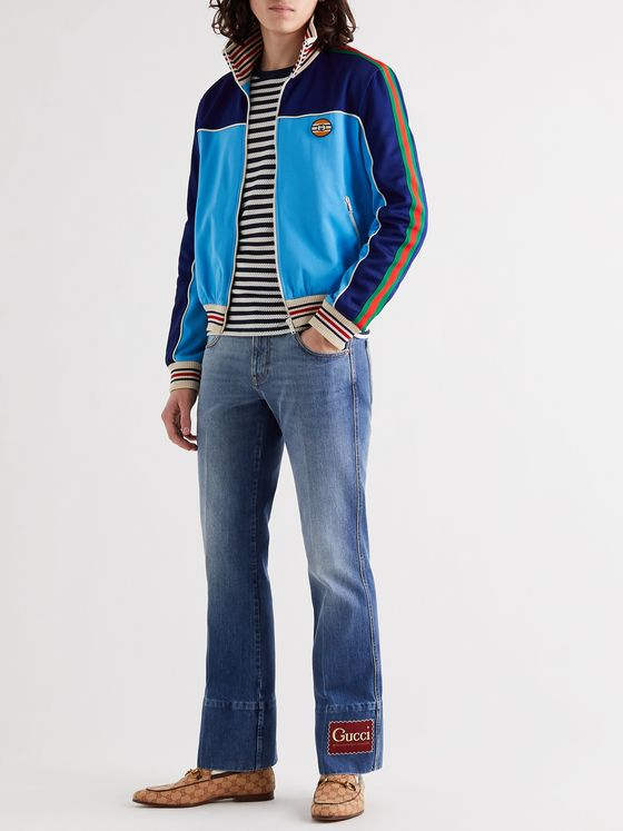 GUCCI Striped Webbing-Trimmed Colour-Block Tech-Jersey Track Jacket