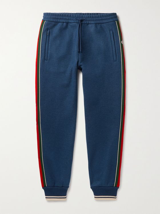 GUCCI Tapered Logo-Jacquard Webbing-Trimmed Cashmere-Blend Sweatpants