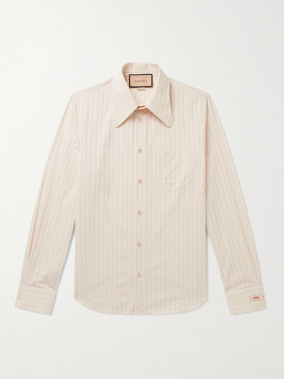 GUCCI Slim-Fit Striped Washed-Cotton Shirt