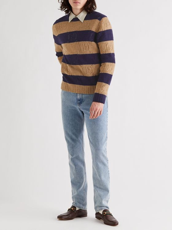 GUCCI Logo-Detailed Striped Pointelle-Knit Wool Sweater