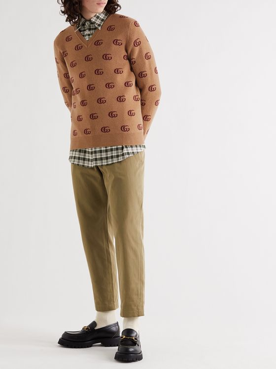 GUCCI Slim-Fit Logo-Jacquard Wool Sweater