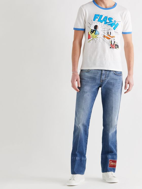 GUCCI + Disney Slim-Fit Printed Linen and Cotton-Blend Jersey T-Shirt