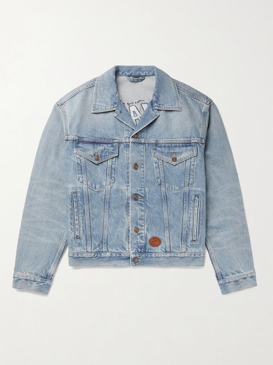 GUCCI + Disney Leather-Trimmed Embroidered Organic Denim Jacket