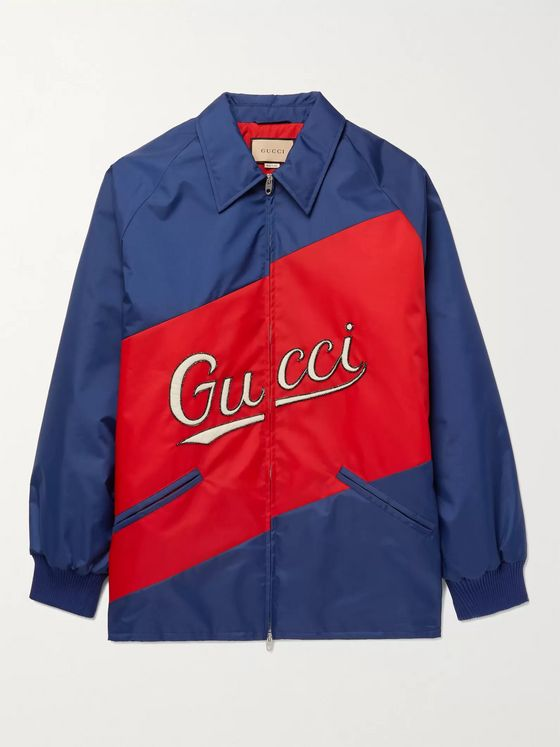 GUCCI Padded Logo-Appliquéd Panelled Shell Jacket