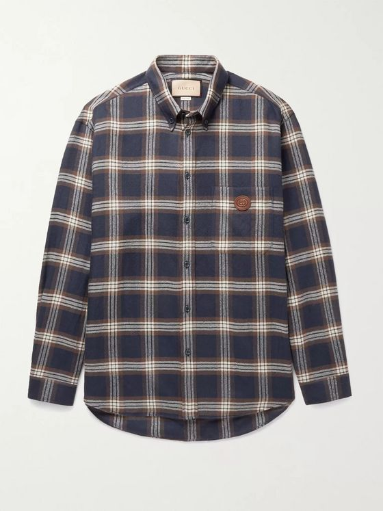GUCCI Button-Down Collar Logo-Appliquéd Checked Wool-Flannel Shirt