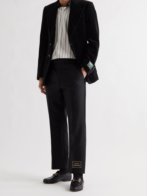 GUCCI Logo-Appliquéd Cotton and Linen-Blend Velvet Blazer