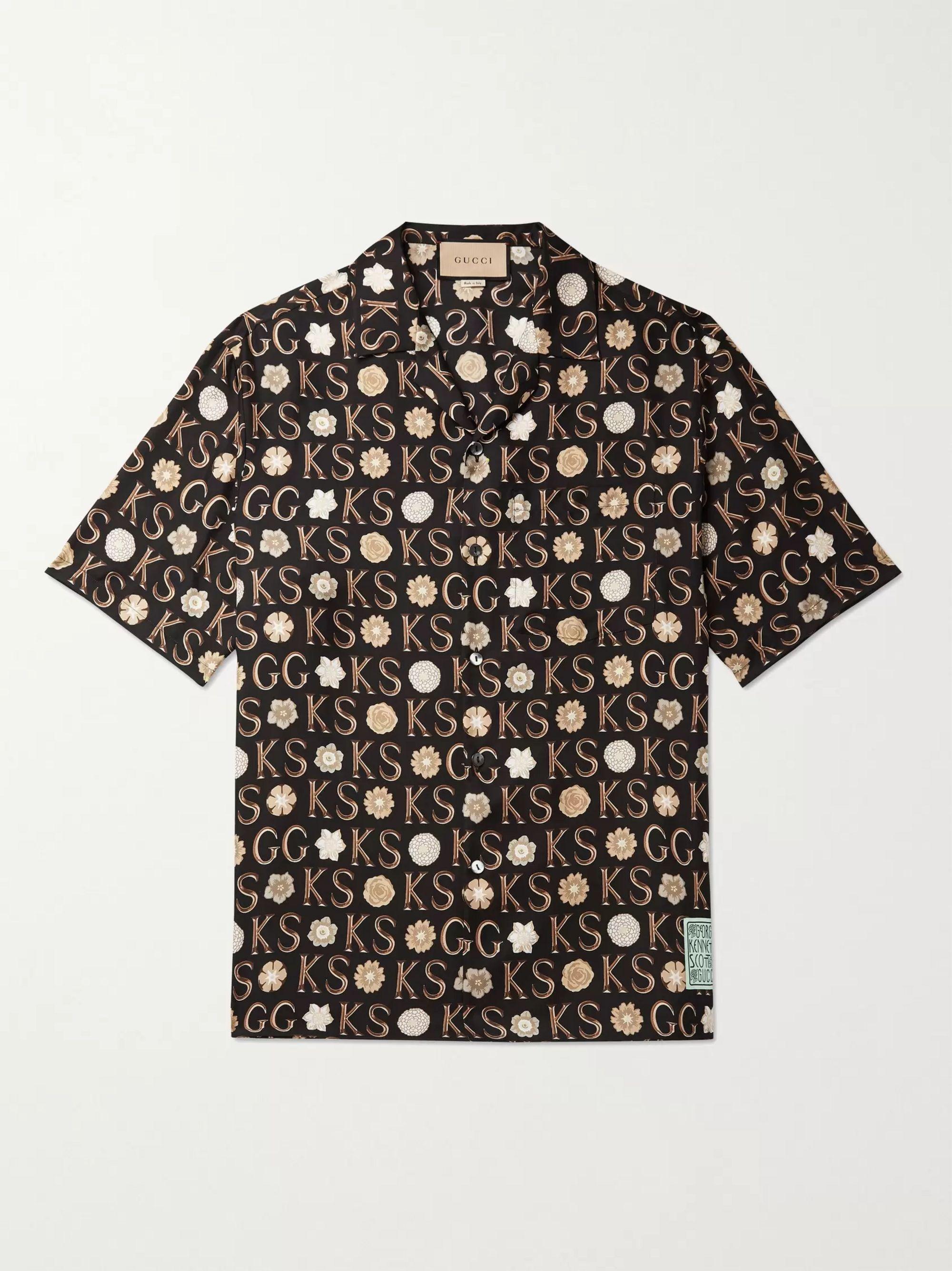 구찌 Gucci + Ken Scott Camp-Collar Logo-Print Silk-Twill Shirt,Multi