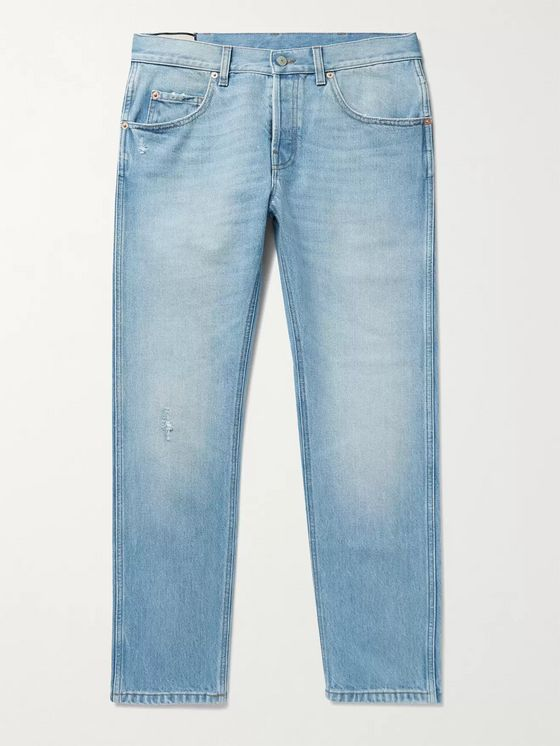 GUCCI Slim-Fit Tapered Cropped Distressed Denim Jeans