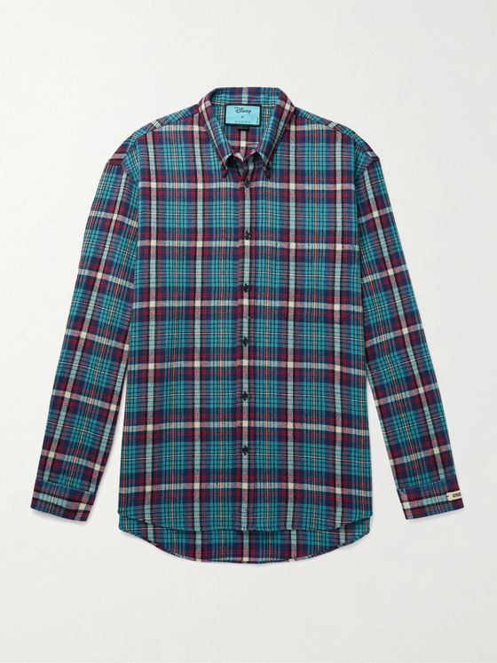 GUCCI + Disney Button-Down Collar Embroidered Checked Wool-Blend Flannel Shirt